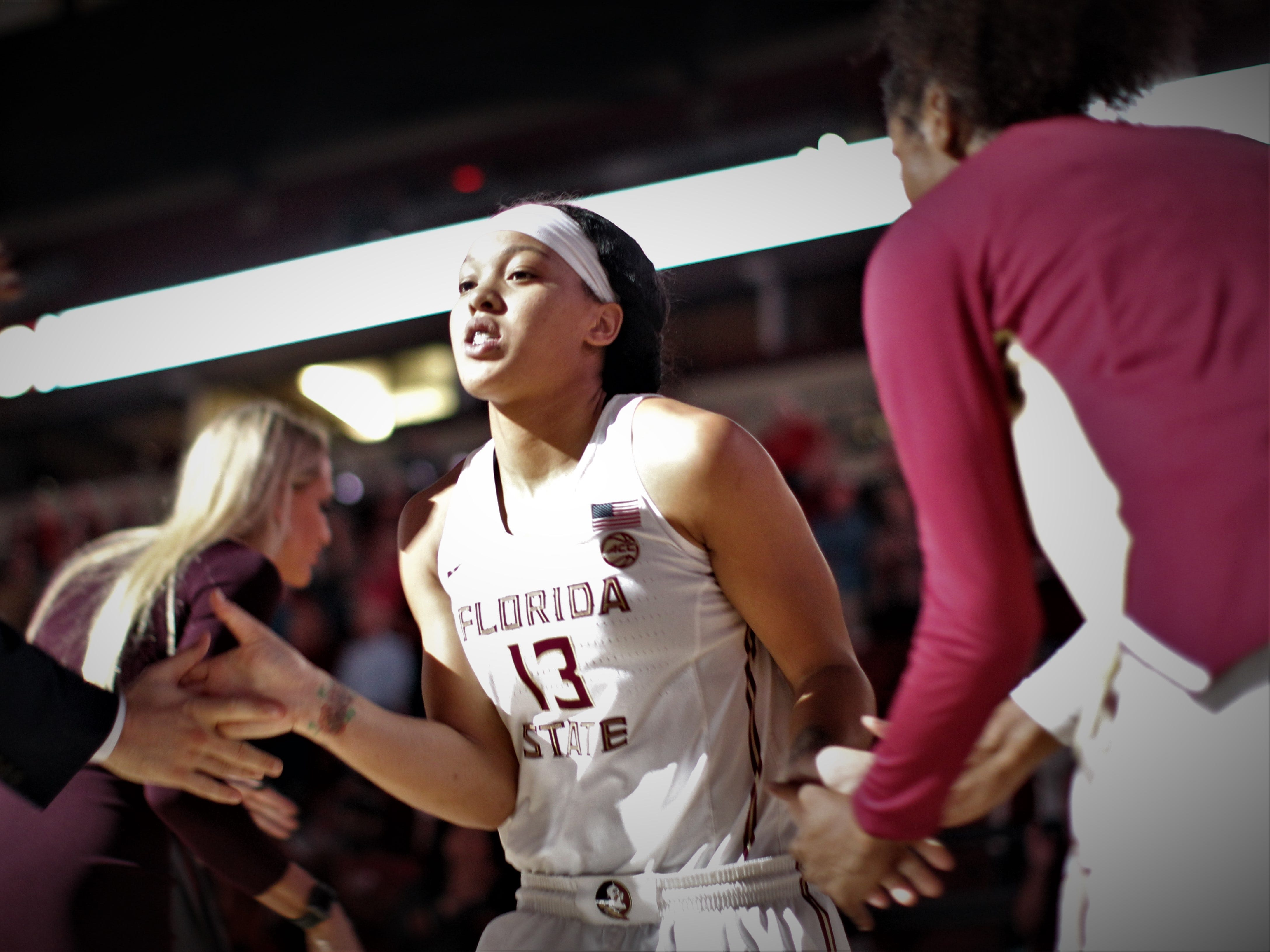 Florida State junior Nausia Woolfolk is introduced as a starter before the Seminoles' game against Florida at the Tucker Civic Center on Nov. 11, 2018.