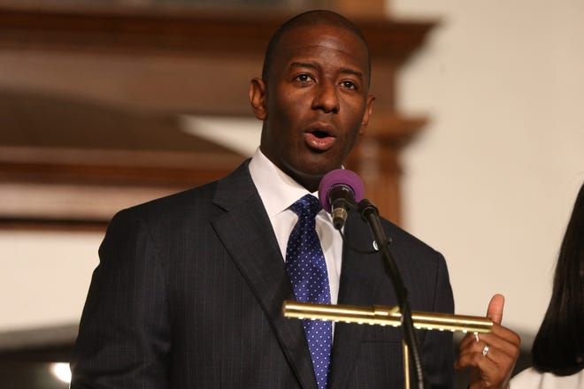 Mayor Andrew Gillum speaks at Bethel AME Church, asking for continued prayer and support as the race for Florida Governor continues, Sunday, Nov. 11, 2018.