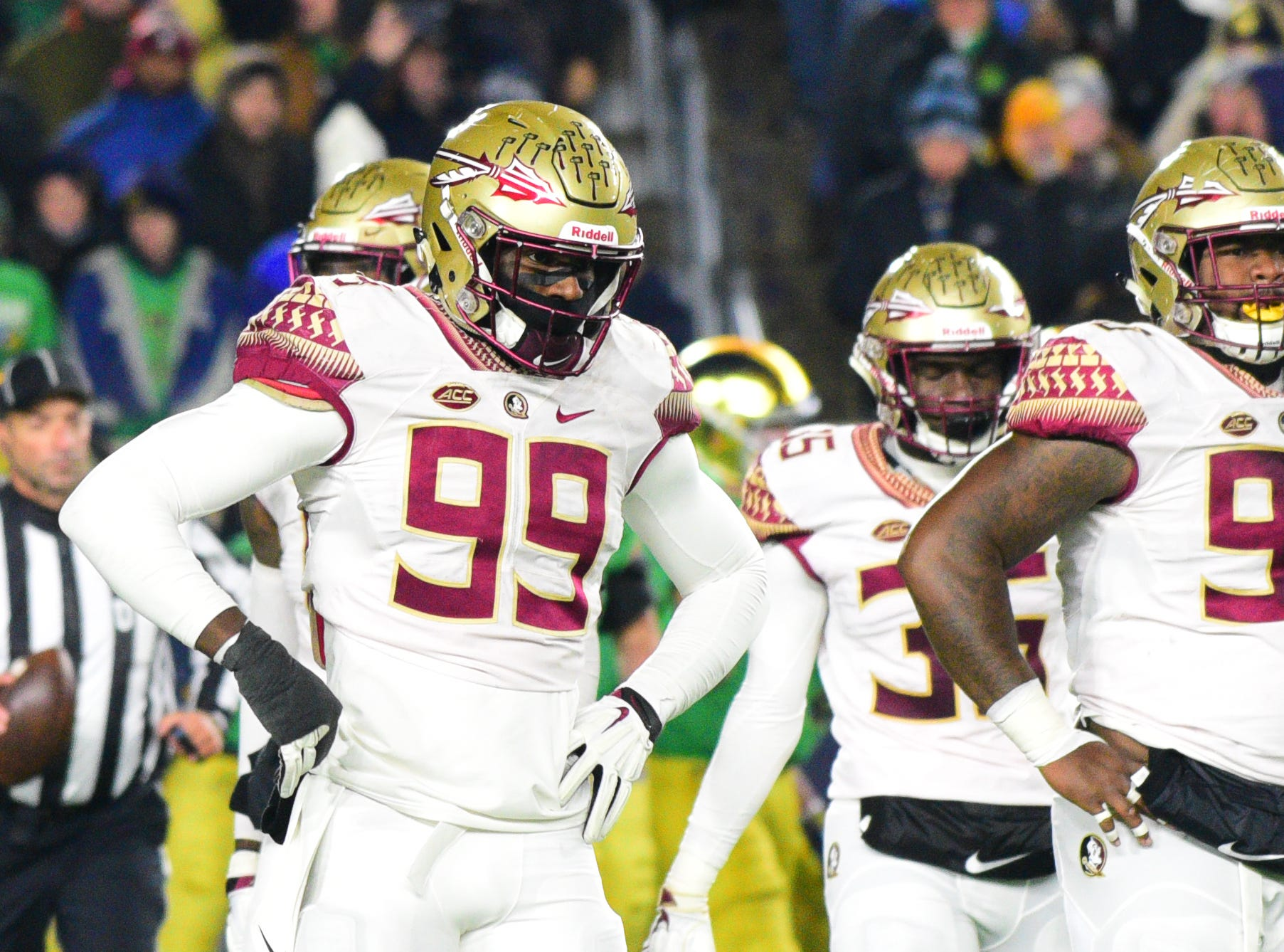 FSU junior defensive end Brian Burns, 99, expresses frustration as Notre Dame score their 4th touchdown of the game in the 2nd quarter in South Bend on Saturday.