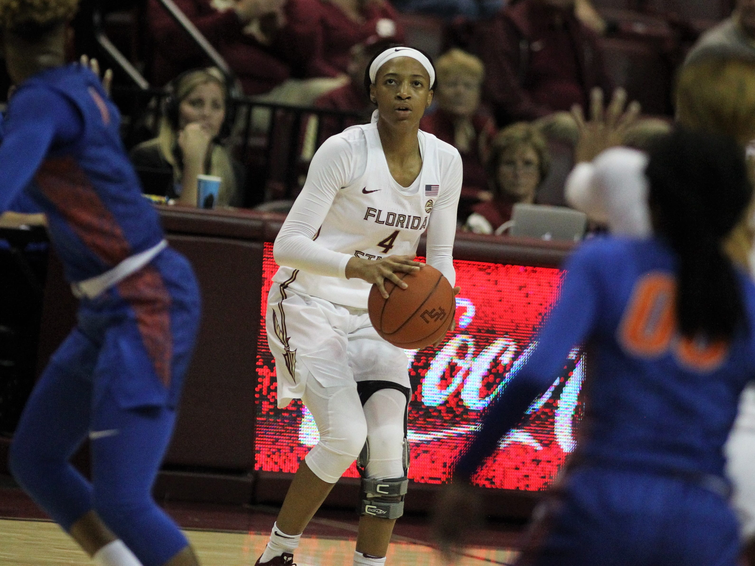 Florida State freshman Amaya Brown sizes up a 3-pointer during the first half of the Seminoles' game against Florida at the Tucker Civic Center on Nov. 11, 2018.