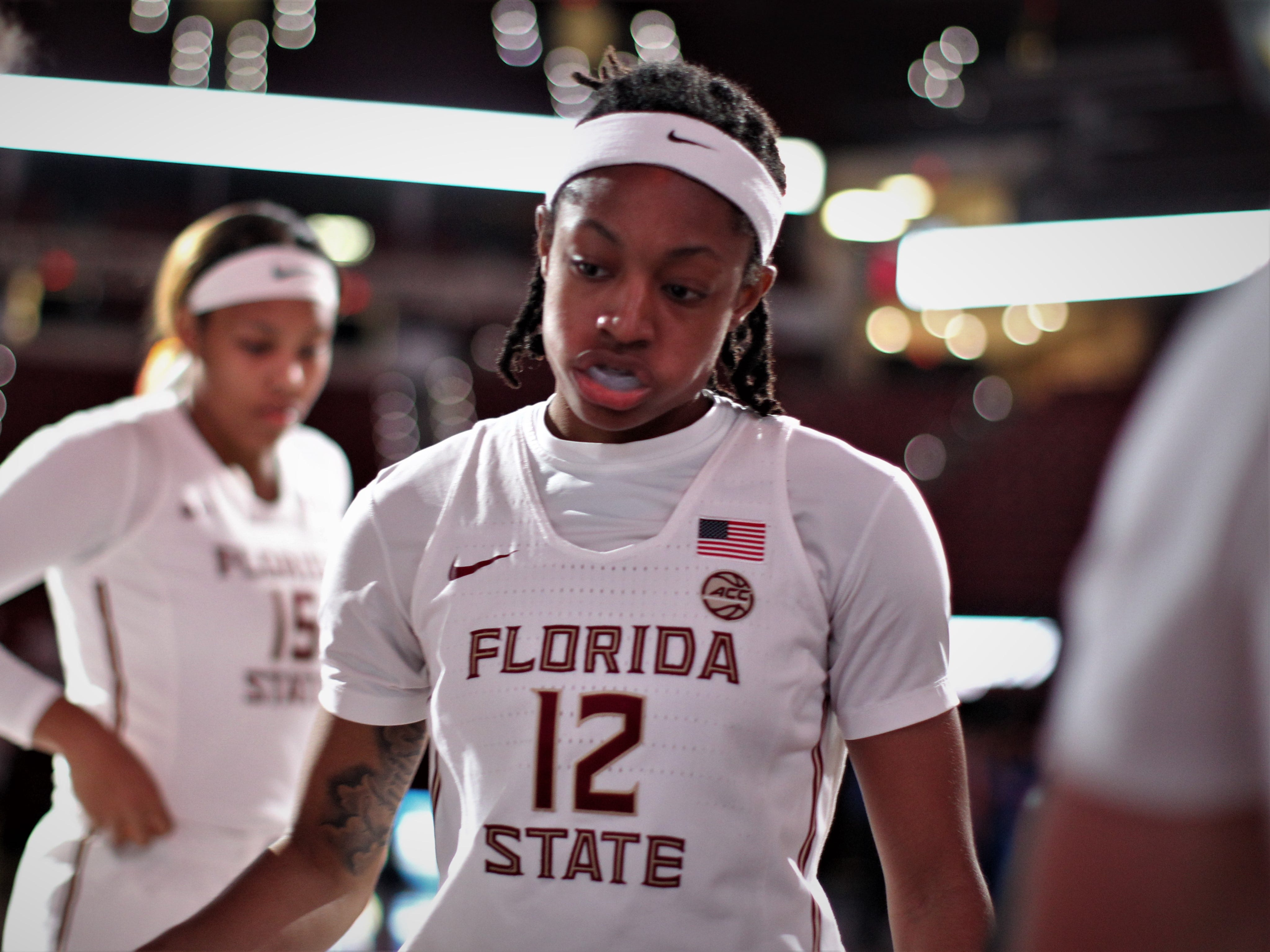 Florida State junior Nicki Ekhomu is introduced as a starter before the Seminoles' game against Florida at the Tucker Civic Center on Nov. 11, 2018.