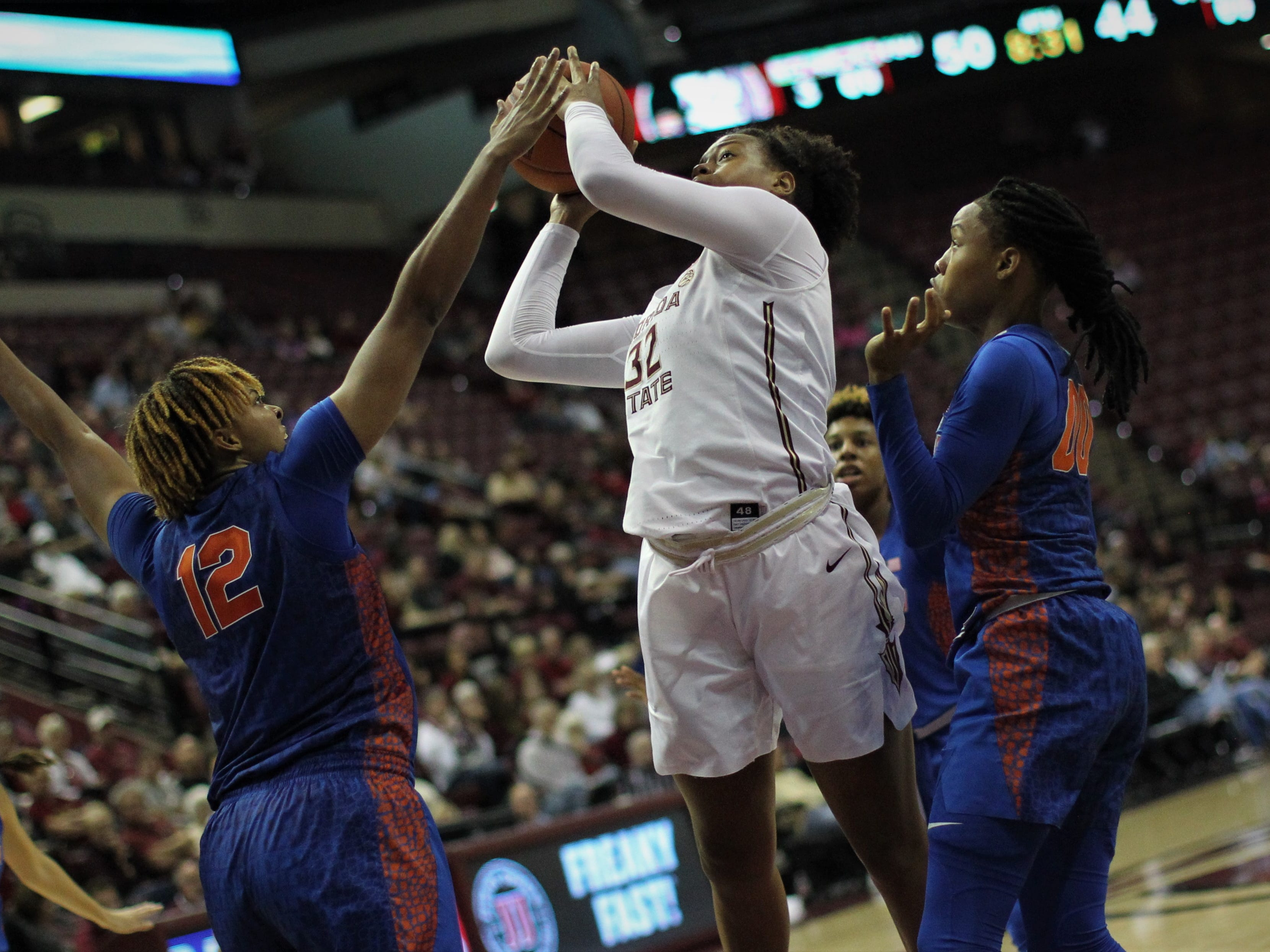 Florida State freshman Valencia Myers goes up for a basket during the second half of the Seminoles' game against Florida at the Tucker Civic Center on Nov. 11, 2018.