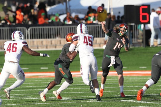 FAMU quarterback fires off a pass against South Carolina State. The signal caller looks to exploit Bethune-Cookman's defense in the Florida Classic. B-CU is giving up 31.5 points per game.