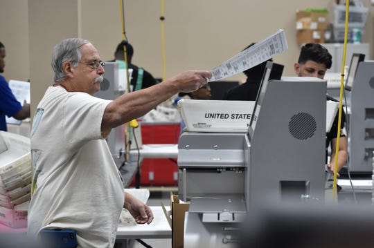 Workers at the Broward County Supervisor of Election's office sort the first page of ballots from 3.5 million pages of ballots on Sunday at the elections office in Lauderhill. Gov. Rick Scott wants law enforcement to impound the voting machines and ballots when they're not being used during the recount.