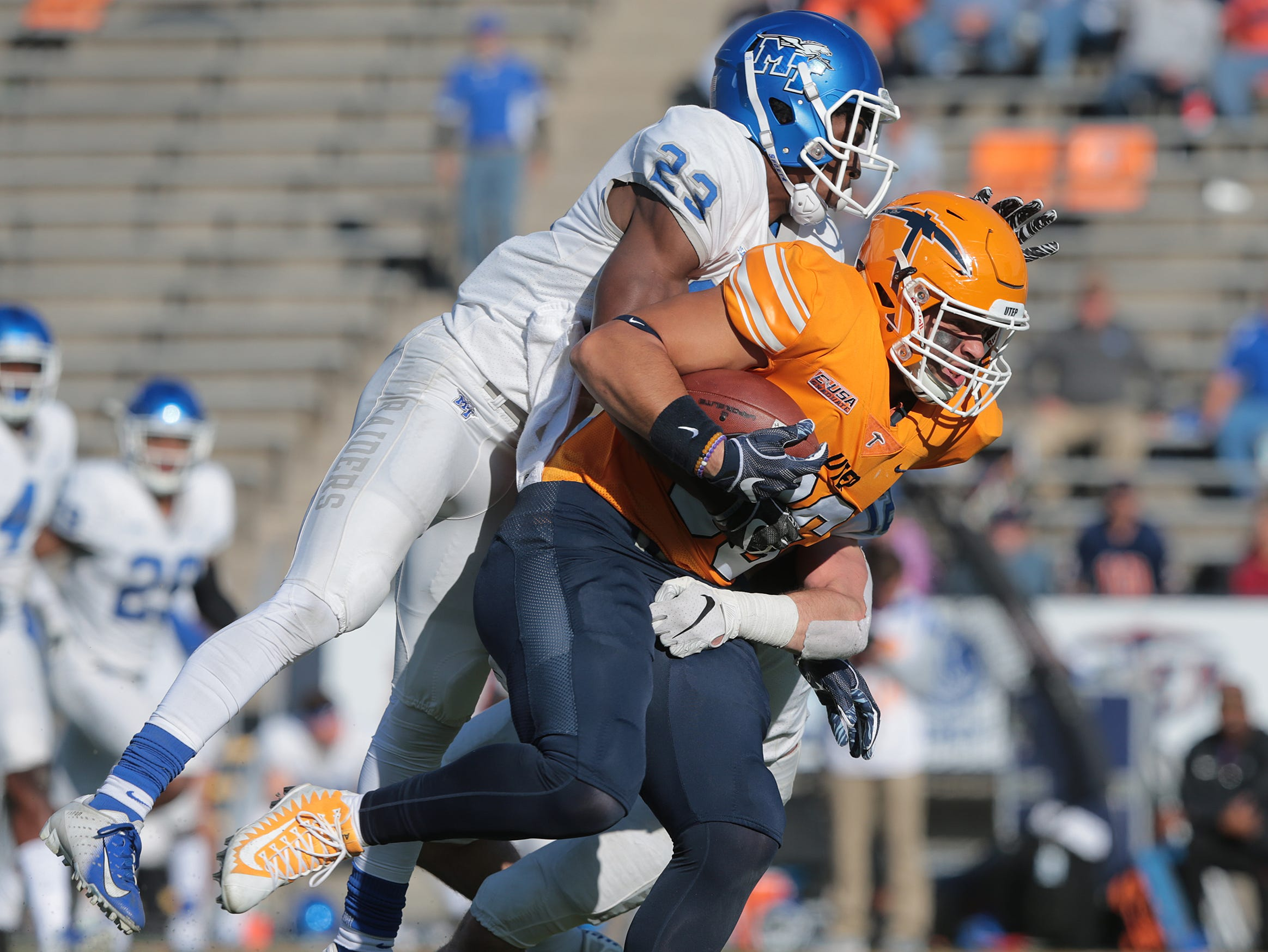 The UTEP Miners had a chance to add to their win this season with a visit from Middle Tennessee at Sun Bowl Stadium, but the Blue Raiders defeated the Miners, 48-32.