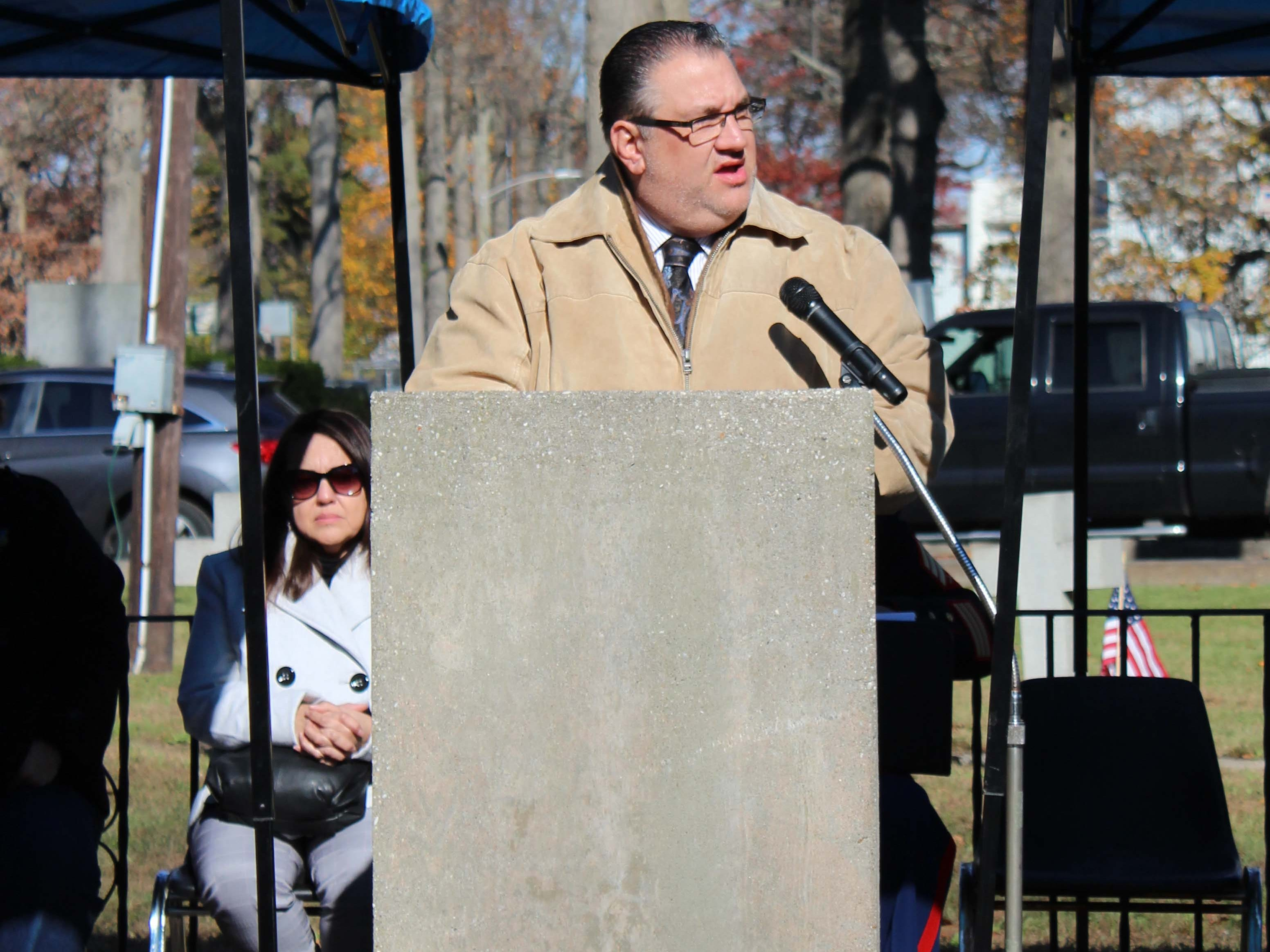 Vineland Mayor, Anthony Fanucci, gives a few remarks at the Veterans Day ceremony at Landis Park on Sunday.