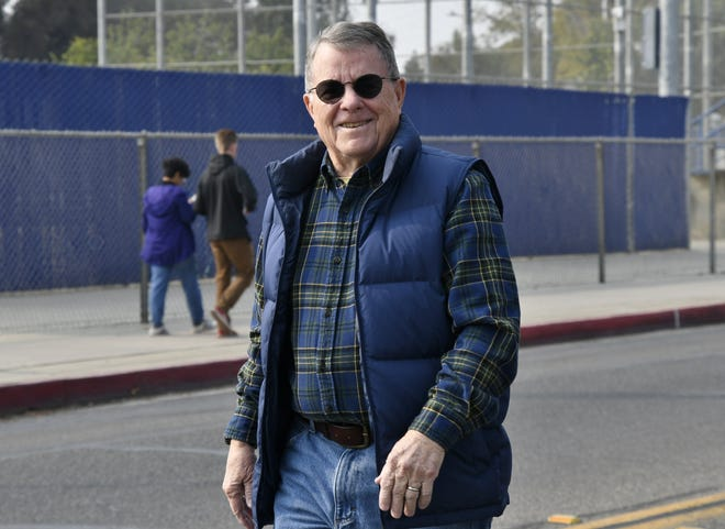 Visalia Vice Mayor Bob Link participates in the annual Veterans Day Parade on Saturday, November 10, 2018.