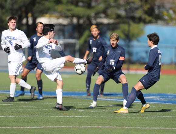 Briarcliff falls 1-0 to Westhill in the Class B boys state soccer final at Middletown High School in Middletown on Sunday, November 11, 2018.