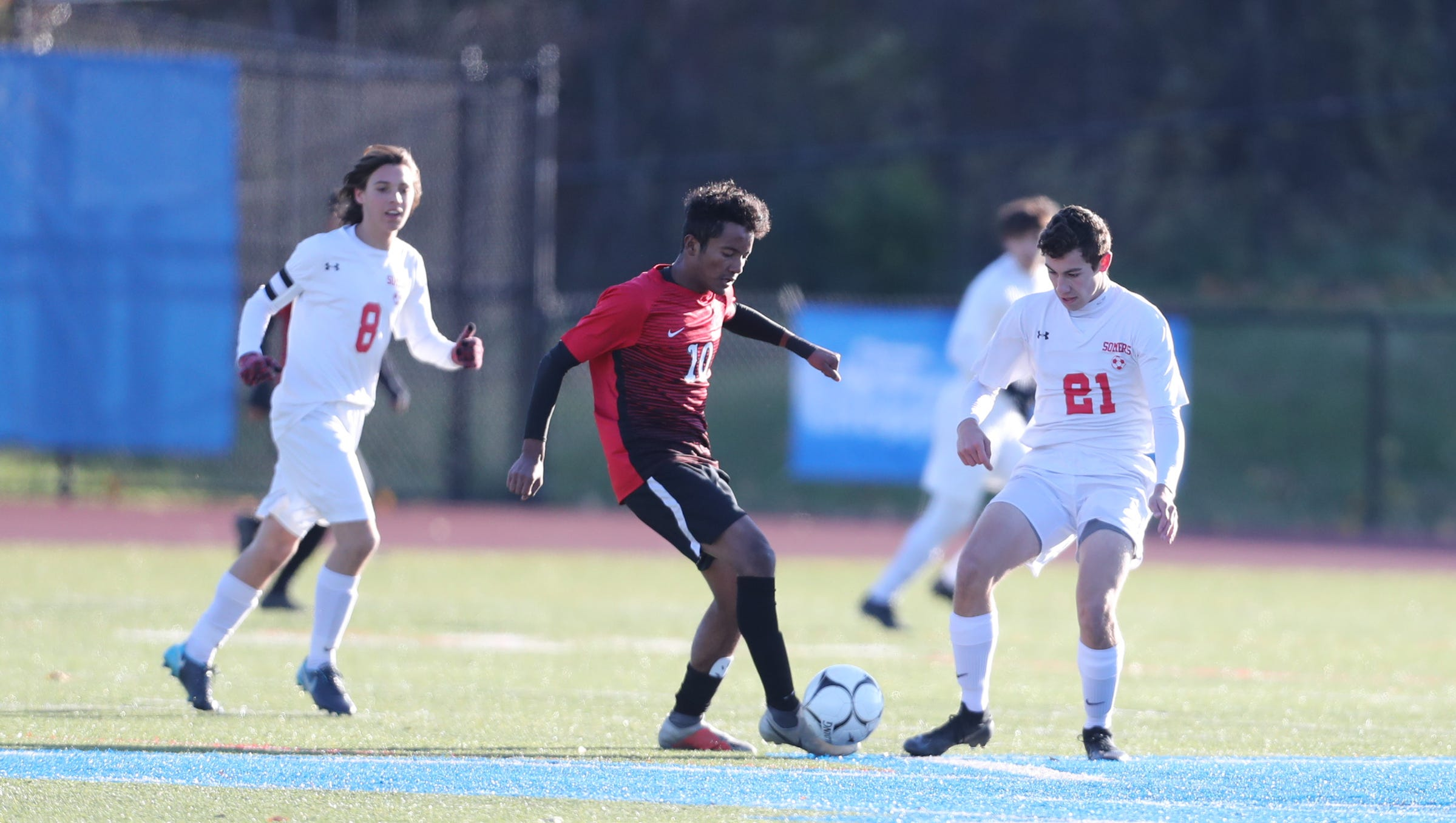 Somers falls 2-1 to Amityville in the Class A boys state soccer final at Middletown High School in Middletown on Sunday, November 11, 2018.