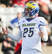 Delaware kicker Frank Raggo is stunned after his kick hit the upright and missed - his second miss of the game - in the second quarter at Stony Brook Saturday.