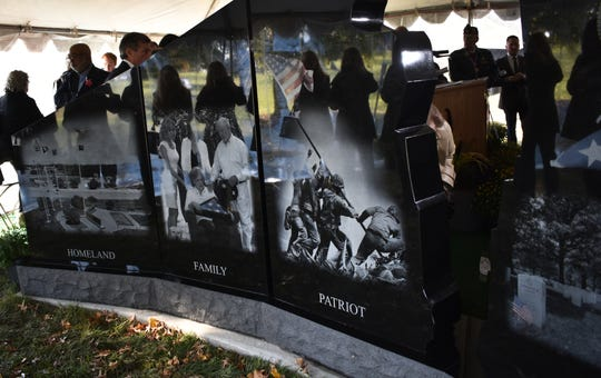 A new Gold Star Families Memorial Monument was unveiled at the Delaware Memorial Bridge Veterans Park Sunday.