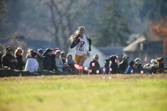 "Padua's Elizabeth ""Lizzy"" Bader at the DIAA Cross Country Championships in November. She'll head to the University of Pennsylvania in the fall."
