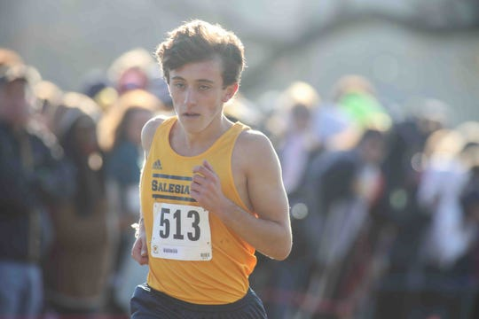 Salesianum's Michael Keehan wins the 2018 Division I race at the DIAA Cross Country Championships at Brandywine Creek State Park.
