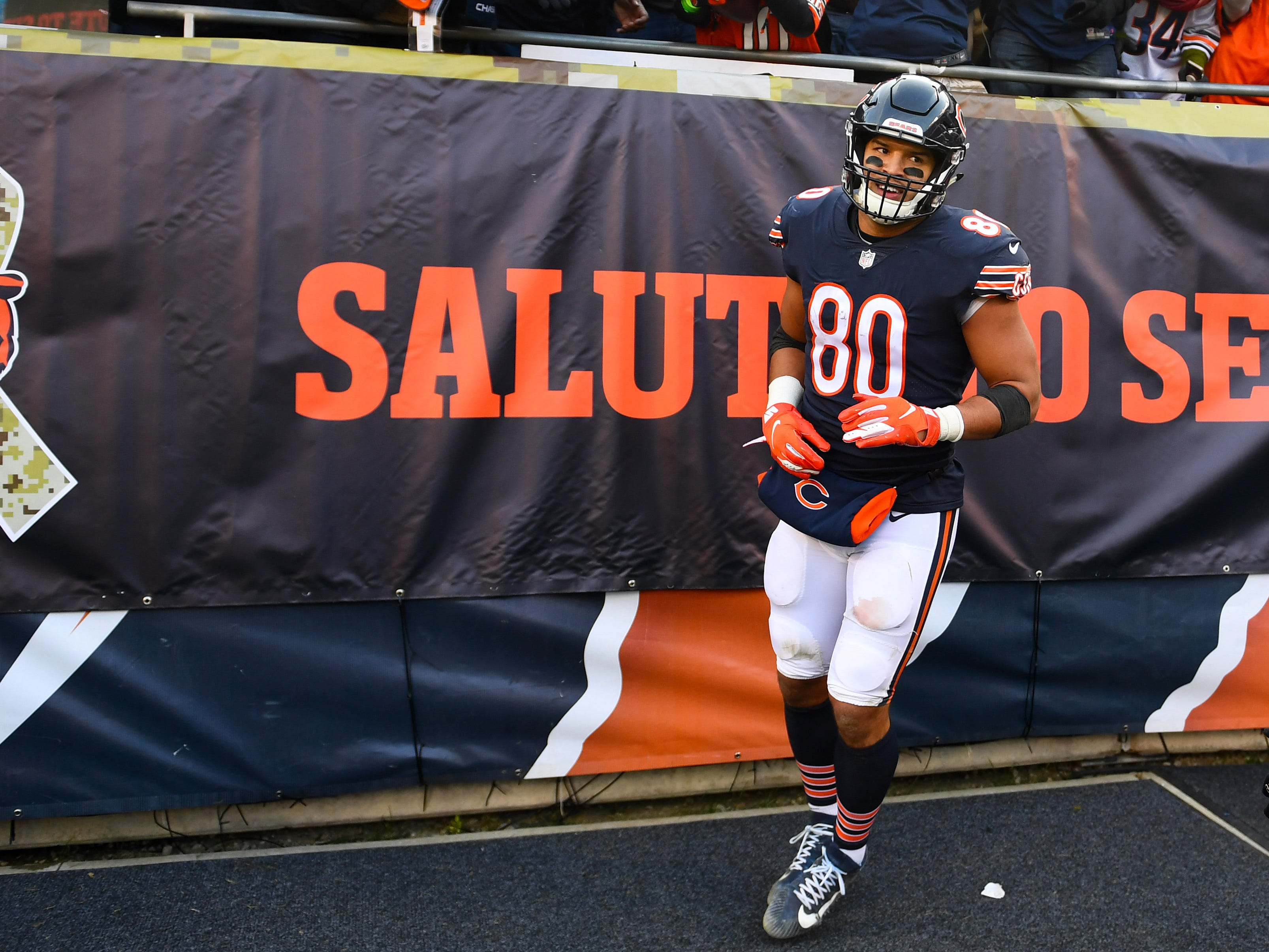 Bears tight end Trey Burton makes a catch against the Lions.