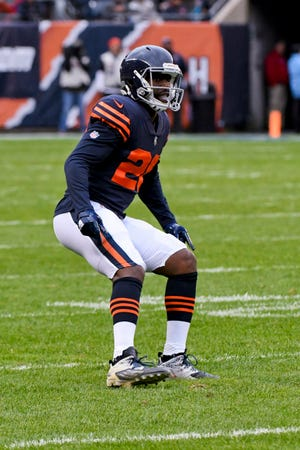 Chicago Bears cornerback Prince Amukamara (20) during an NFL football game against the New York Jets Sunday, Oct. 28, 2018, in Chicago.