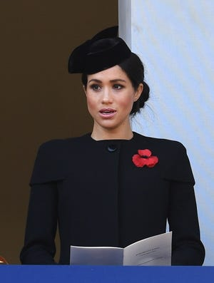 Duchess Meghan at the Cenotaph during the Remembrance Sunday observation in London on Nov. 11, 2018. The date marks the 100th anniversary of the First World War Armistice, with ceremonies taking place across the world to commemorate the occasion.