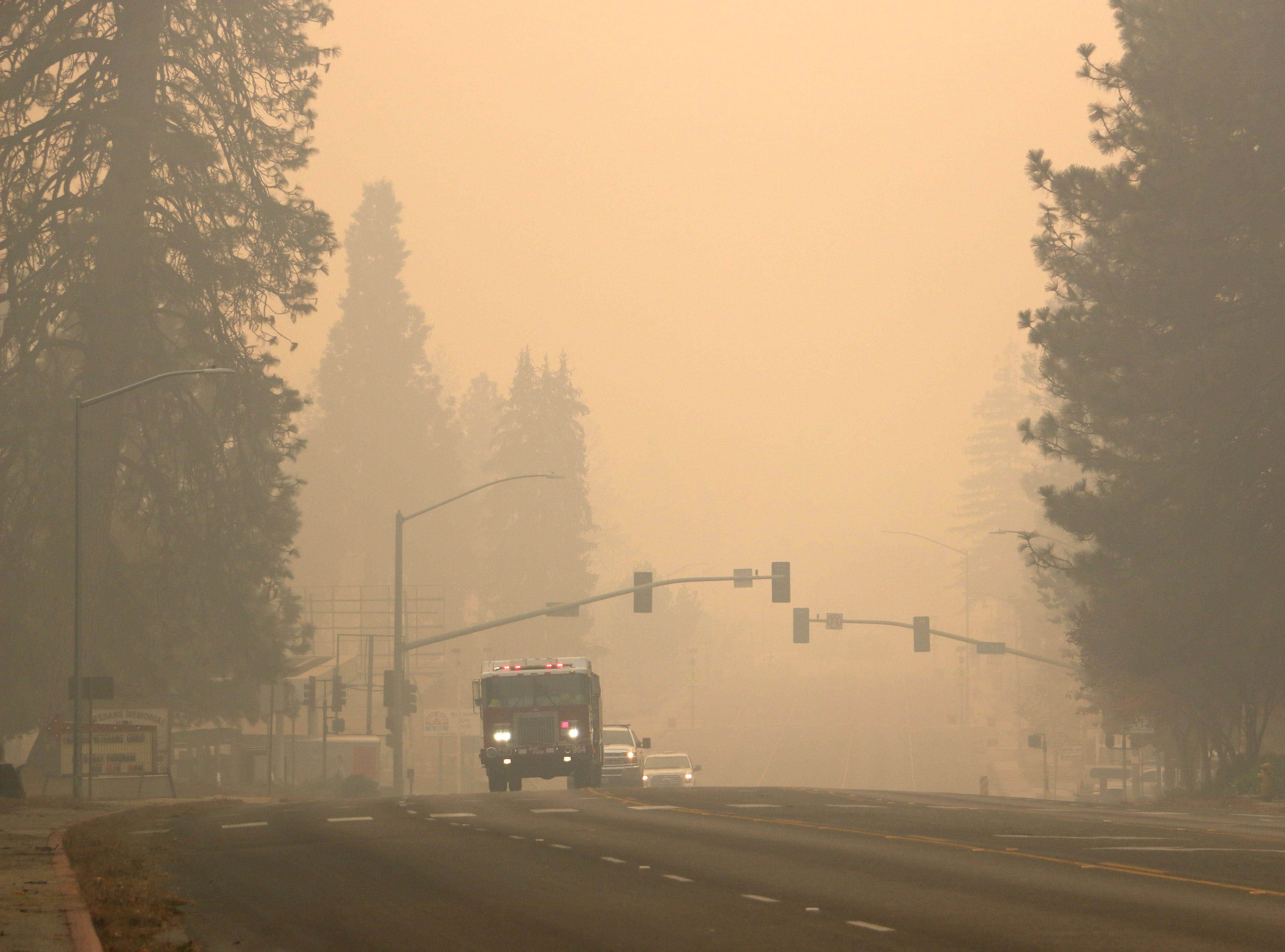 Smoke from the Camp Fire is seen in and around Paradise, Calif., on Nov. 10, 2018.