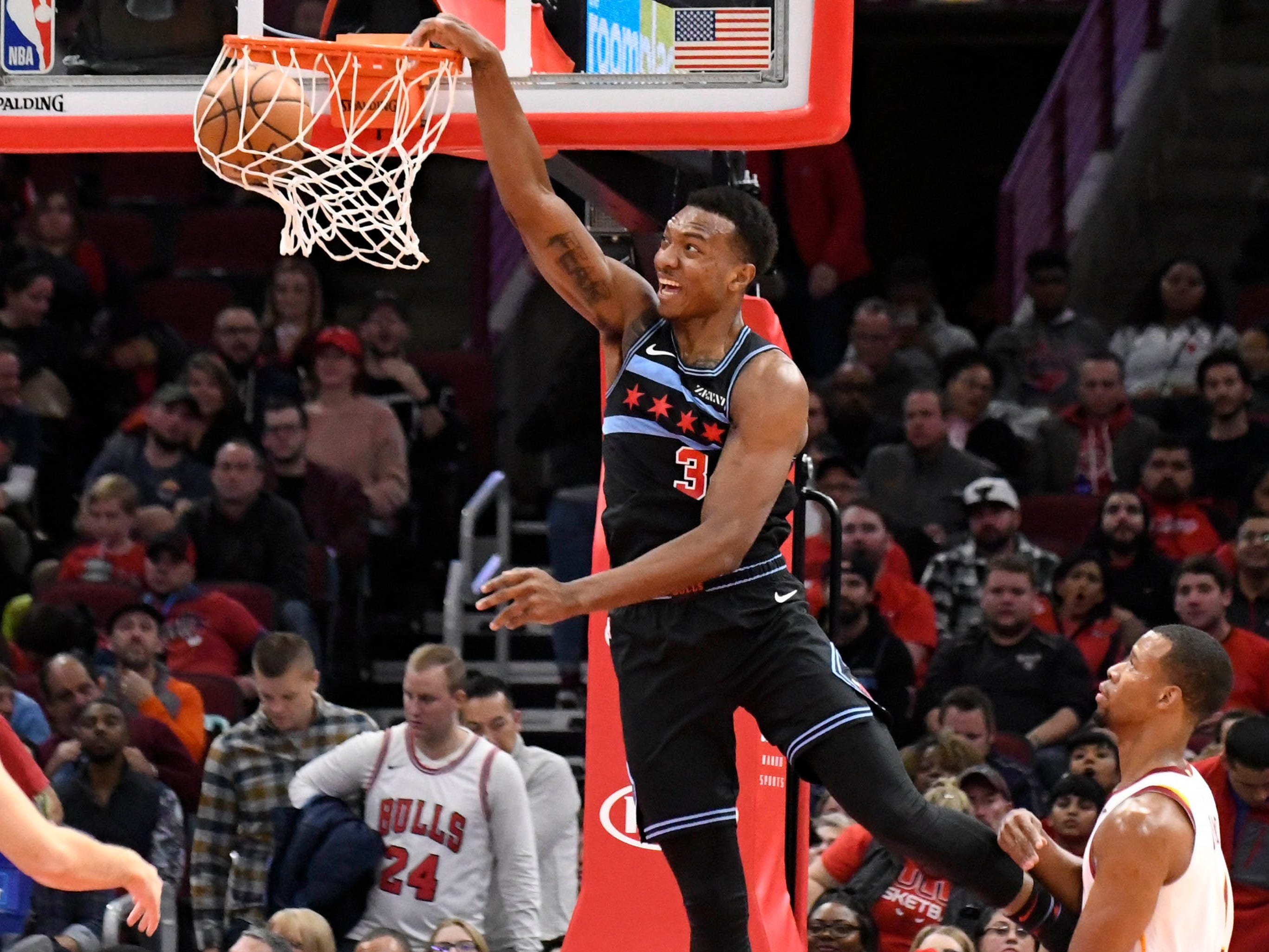 Nov. 10: Bulls rookie forward Wendell Carter Jr. finishes the one-handed jam during first half against the Cavaliers in Chicago.