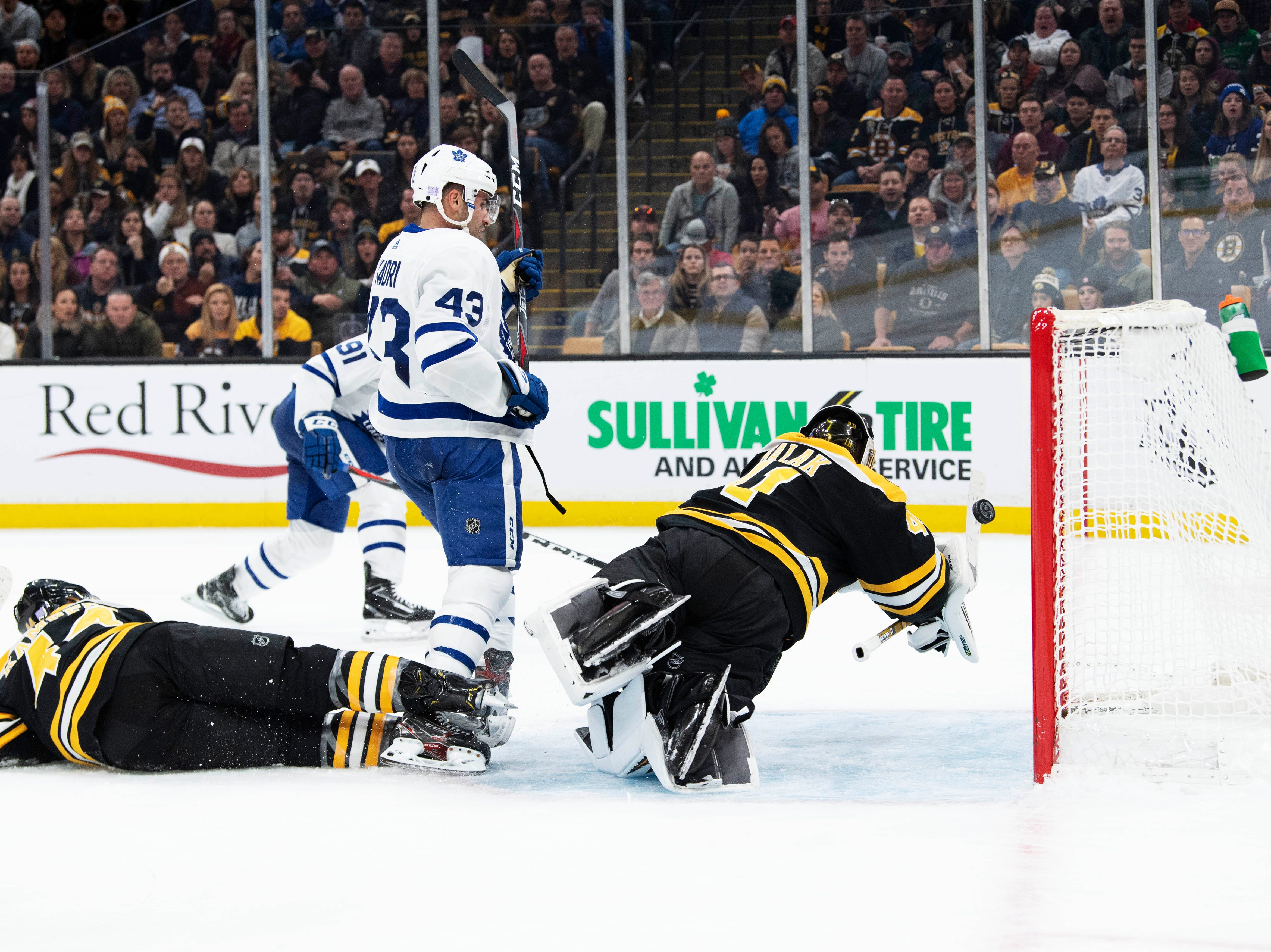 Nov. 10: Toronto Maple Leafs forward John Tavares (not pictured) scores against the Boston Bruins in the second period at TD Garden.