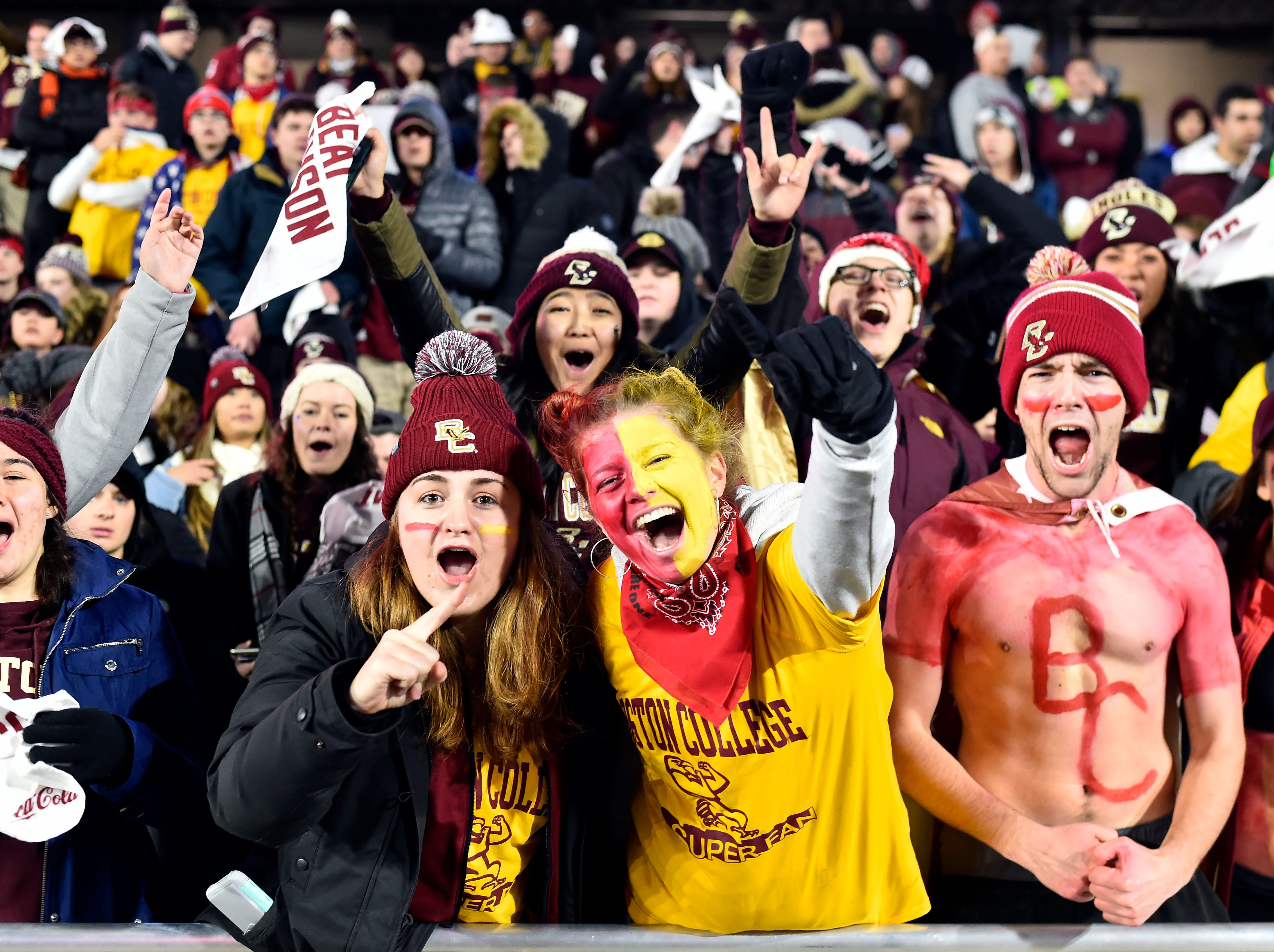Week 11: Boston College Eagles fans cheer before a game against the Clemson Tigers at Alumni Stadium.