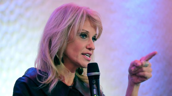 White House counselor Kellyanne Conway speaks in support of Republican congressional candidate Jay Webber at an event in Wayne, N.J., Oct. 22, 2018.