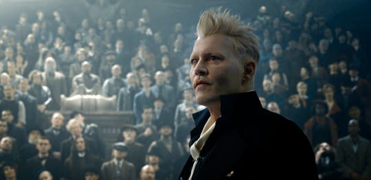 "Johnny Depp as Gellert Grindelwald in ""Fantastic Beasts: The Crimes of Grindelwald."""