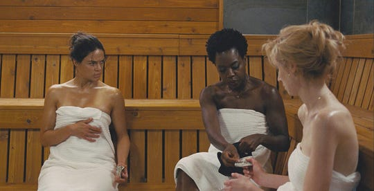 "Linda (Michelle Rodriguez, from left), Veronica (Viola Davis) and Alice (Elizabeth Debicki) team up for a big heist in the thriller ""Widows."""