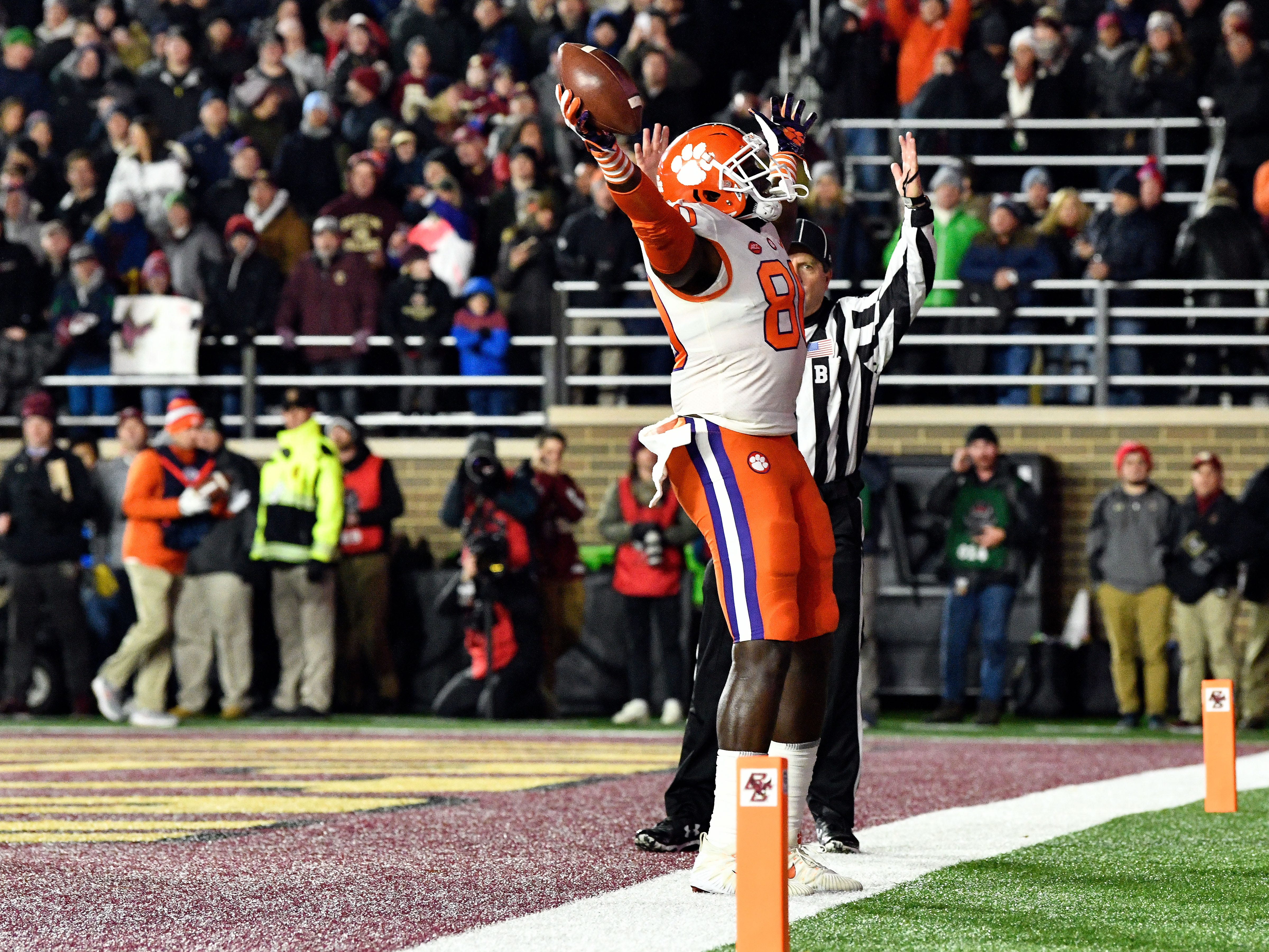 Clemson Tigers tight end Milan Richard (80) celebrates after scoring a touchdown against the Boston College Eagles during the first half at Alumni Stadium.