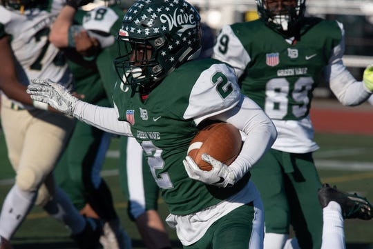 Long Branch junior running back Jermaine Corbett, who scored five touchdowns in the Green Wave's 47-14 win over Brick Memorial in a NJSIAA Central Group IV semifinal, is one of the players you can vote for Shore Conference Player of the Week