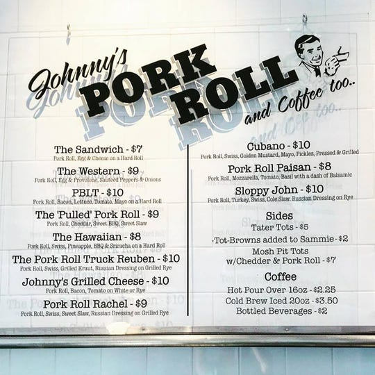 The menu board at the newly opened Johnny's Pork Roll and Coffee Too in Red Bank.