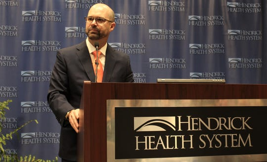 Brad Holland surveys several hundred in attendance Monday at Hendrick Medical Center where the San Angelo native was named to succeed retiring Tim Lancaster as president and CEO of Hendrick Health System.