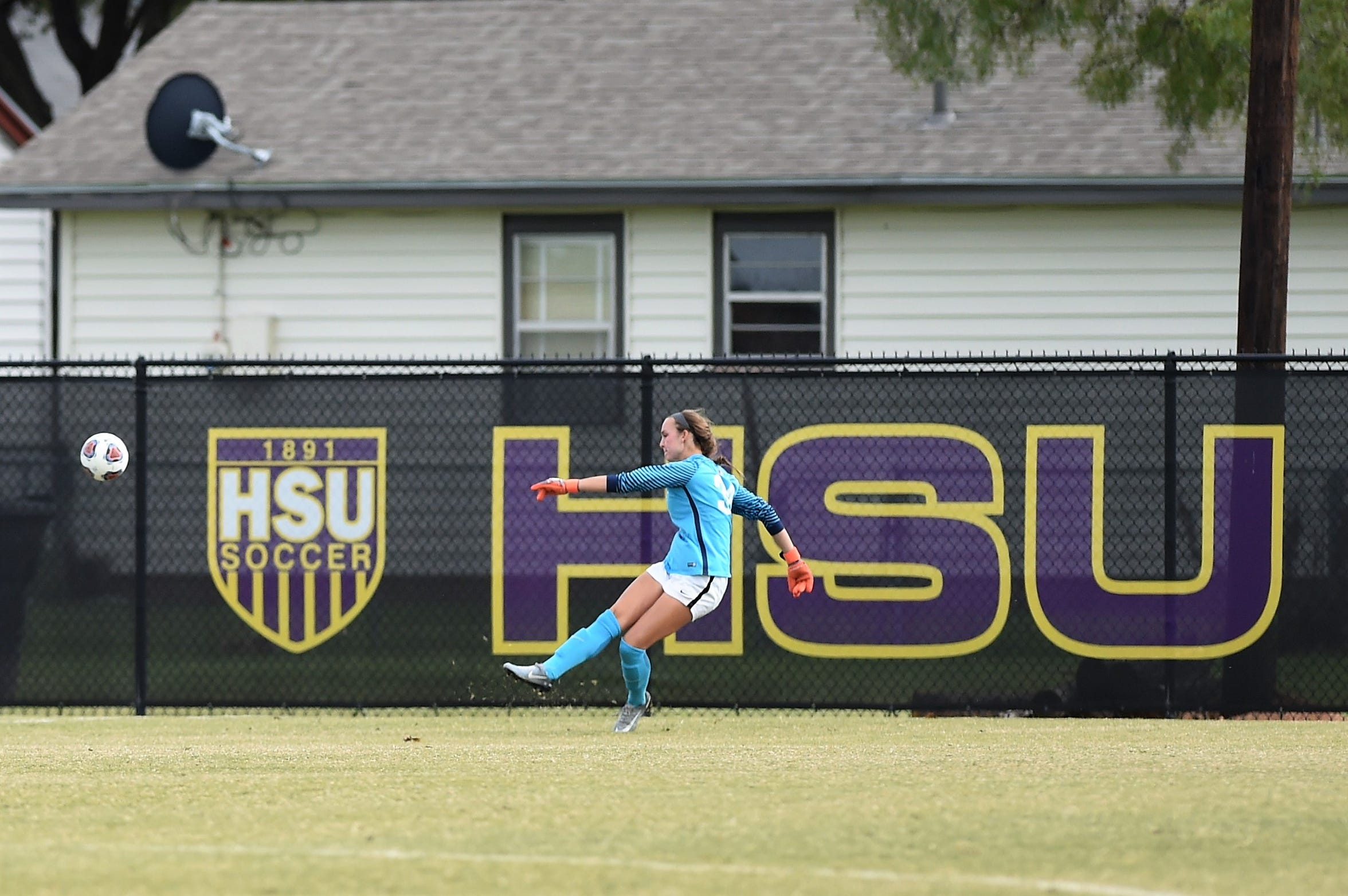 Hardin-Simmons goalkeeper Caitlin Christiansen takes a goal kick against Trinity during the second round of the NCAA Division III tournament. Christiansen has been a cornerstone of the Cowgirls defense during her career.