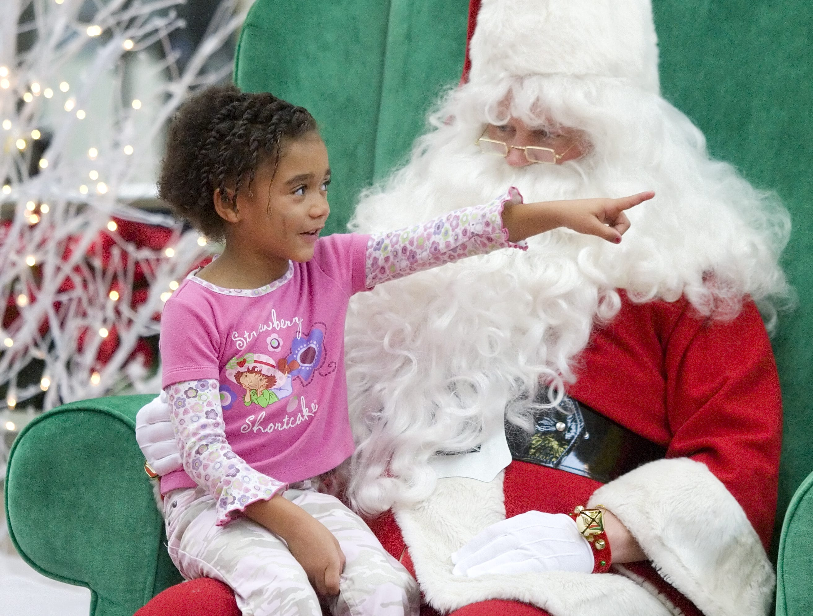 Elizabeth Ennis, 6, talks to Santa about reindeer in the mall before having her picture taken in Center Court of Arnot Mall in Big Flats in 2007.