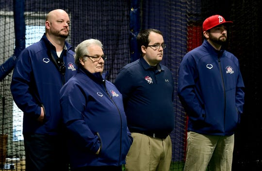 Members of the Binghamton Rumble Ponies staff listen at a press conference at NYSEG Stadium in Binghamton on Monday, November 12, 2018.