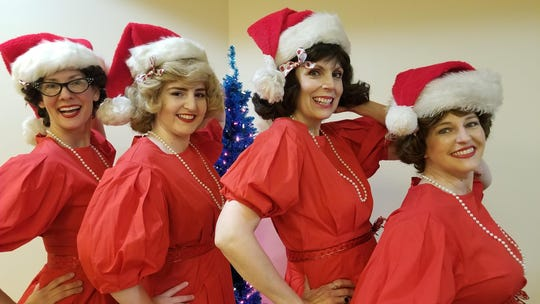 "Shannon Burch (from left), Madelyn Bjorn, Diane Daniels and Chelsea Pedro in ""A Taffeta Christmas."""