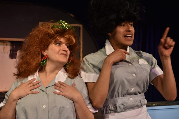 "Stephanie Turcotte (left) and Alan Lerdo in ""A Tuna Christmas."""