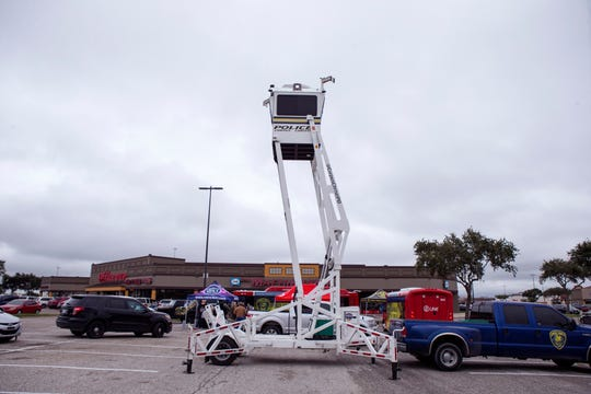 The Corpus Christi Police Department had the Sky Watch tower on display as they unveiled a new crime prevention campaign aimed at preventing auto theft and auto burglaries on Monday, November 12, 2018 at Mattress Firm in Moore Plaza. The Insurance Council of Texas selected Corpus Christi and two other cities for the campaign. The Sky Watch tower is another example of crime prevention efforts the department utilizes to prevent auto burglaries and auto theft.