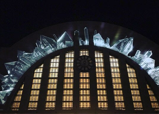 Union Terminal will come alive with video projection mapping this week in honor of the reopening. Here's an example of one of those moments.