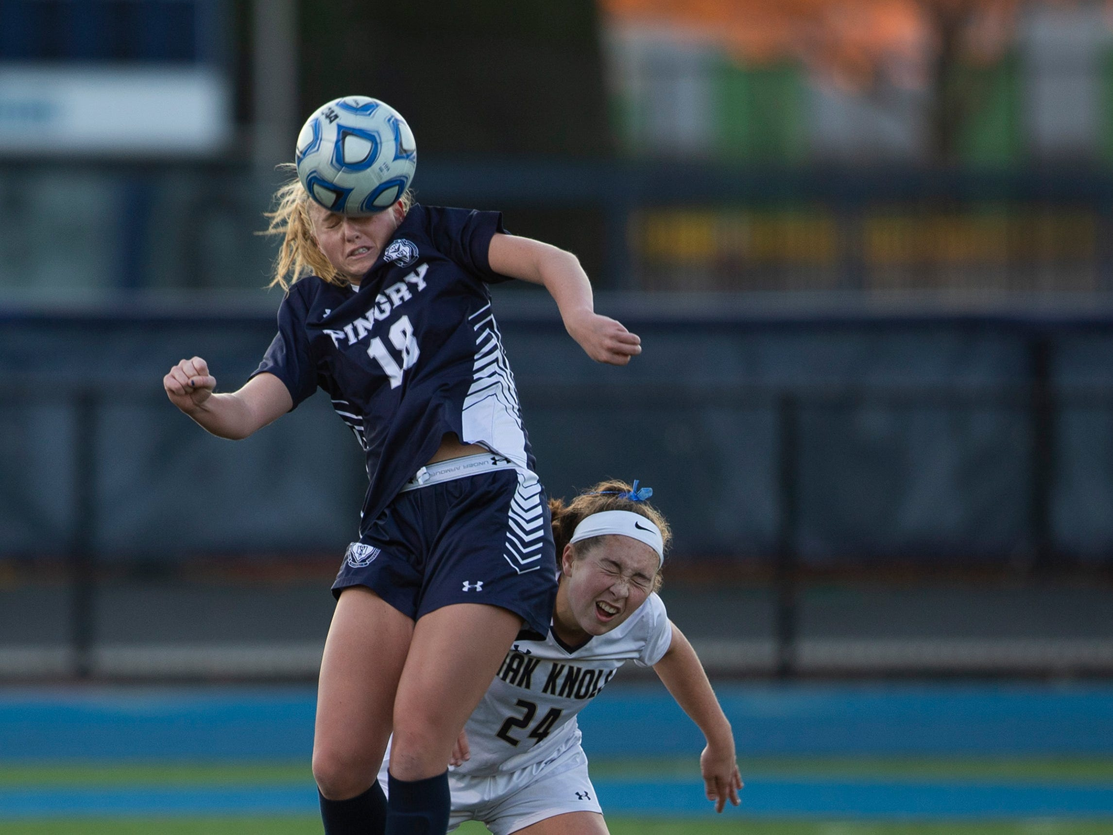 Pingry's Emma Capanna heads the ball during the second half against Oak Knoll in the Non-Public A final on Sunday, Nov. 11, 2018 at Kean University.