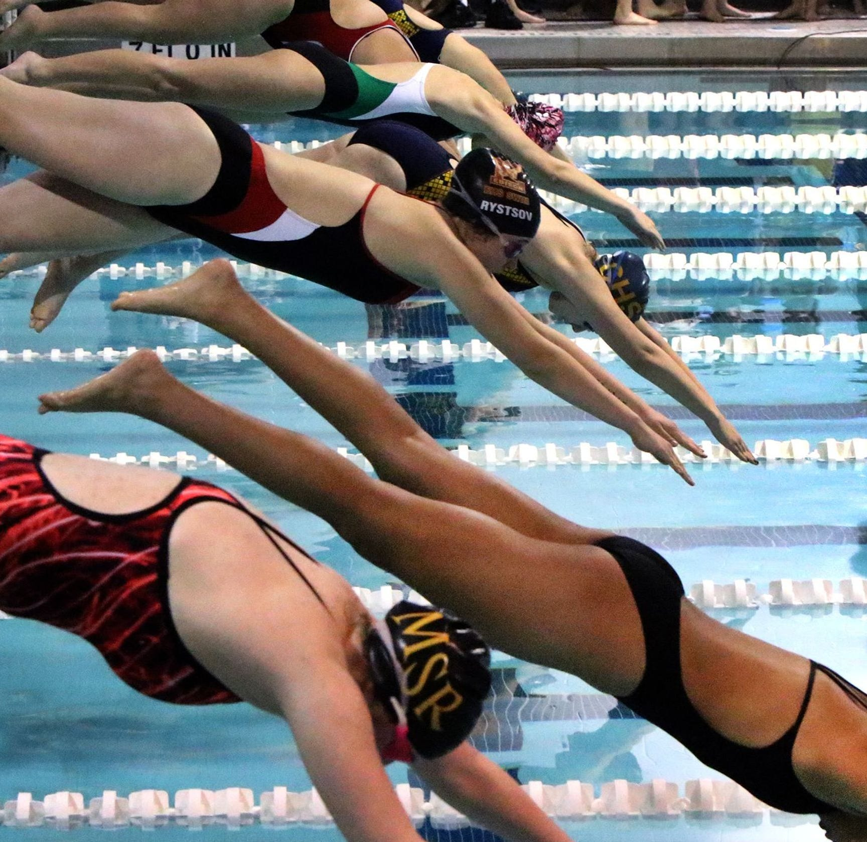 Start of the 200 Yard Freestyle at the GMC Girls Swimming Championships held at the Perth Amboy YMCA Friday January 30, 2015