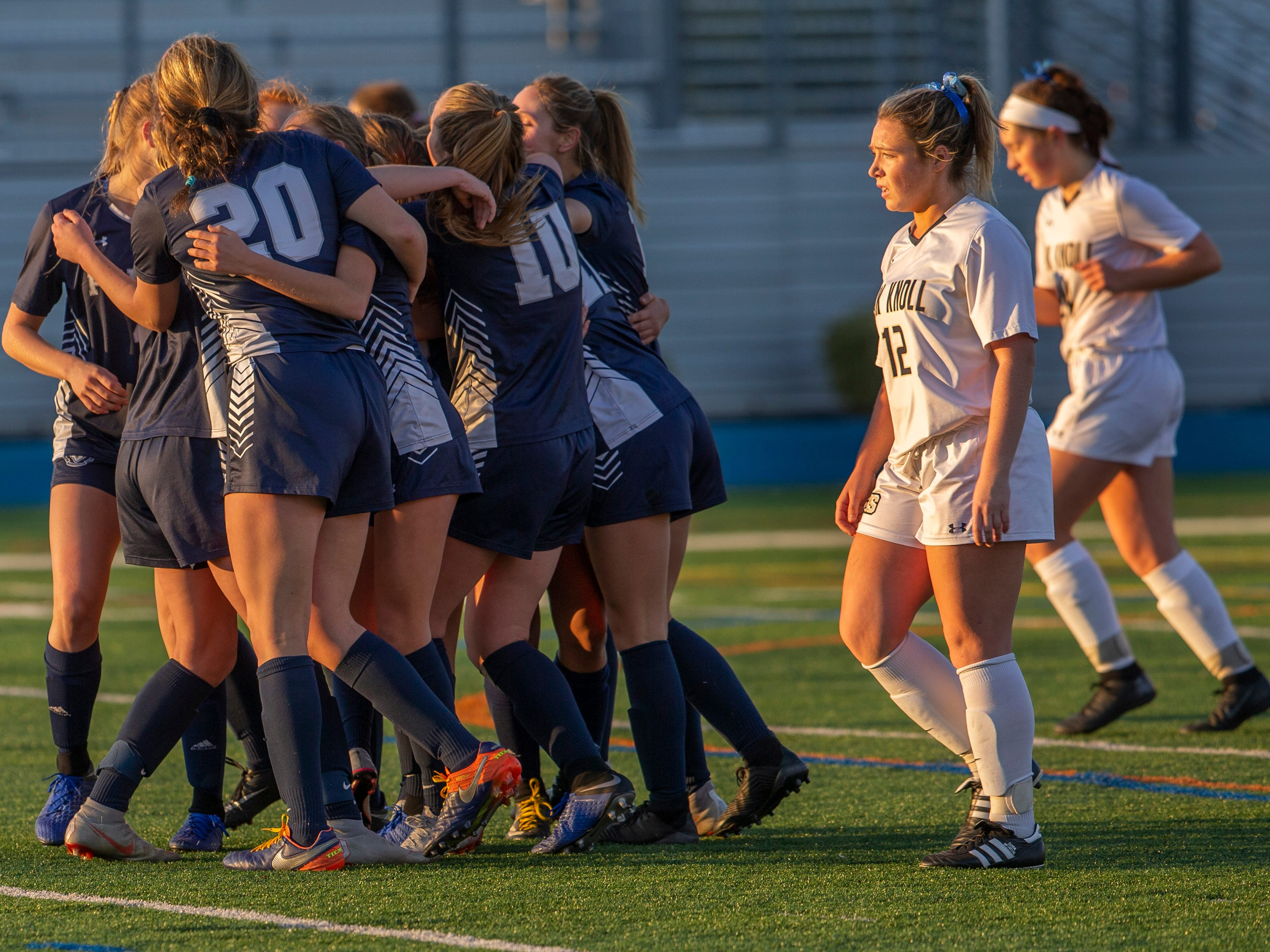 Pingry celebrates after Sophia Cavaliere scored its third goal of the game during the Non-Public A final on Sunday, Nov. 11, 2018 at Kean University.