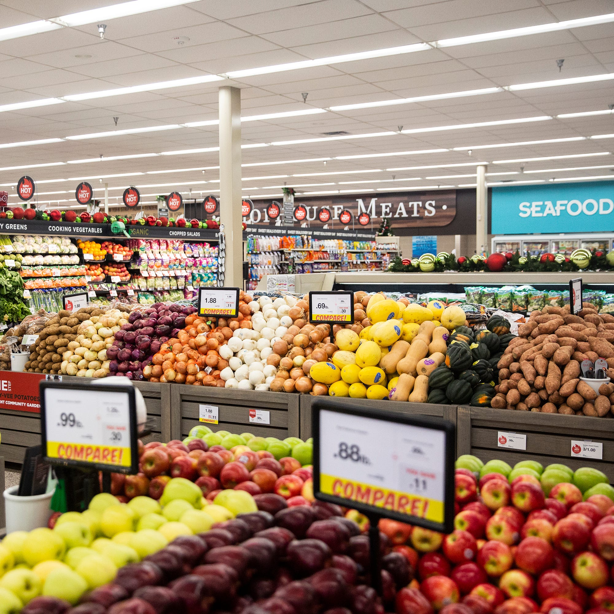 New coolers have been added to the produce and dairy sections of the remodeled Harding Hills Hy-Vee, which reopens this week after being damaged by flooding this summer, on Monday, Nov. 12, 2018, in Des Moines.