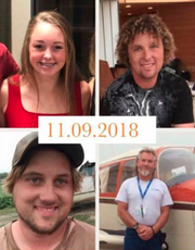 Edward Anderson, 49, bottom right, was flying three passengers — Samantha Clark, 15, top left; her stepfather, Patrick Kellen, 36, top right, both of Le Mars; and Kellen's cousin, Tyler Douvia, 28, bottom left, of Merrill — when Anderson had a heart attack. All four were killed when the plane crashed Friday, Nov. 9, 2018, in Guthrie County.