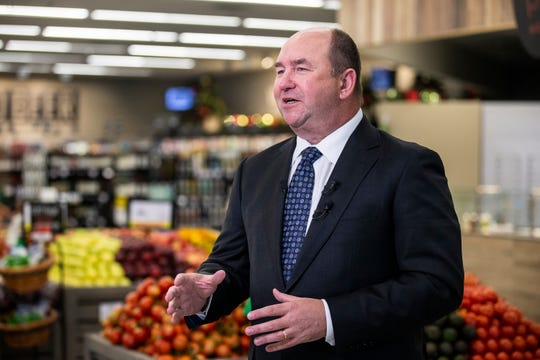 Randy Edeker, CEO of Hy-Vee, talks to the media during a tour of the remodeled Harding Hills Hy-Vee, on Monday, Nov. 12, 2018, in Des Moines. Flash flooding in July caused significant damage to the store.