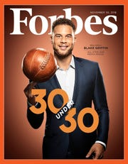 """Pistons forward Blake Griffin on the cover of Forbes Magazine's """"30 under 30"""" issue for November 30, 2018."""