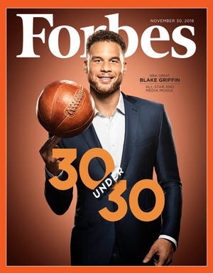 "Pistons forward Blake Griffin on the cover of Forbes Magazine's ""30 under 30"" issue for November 30, 2018."