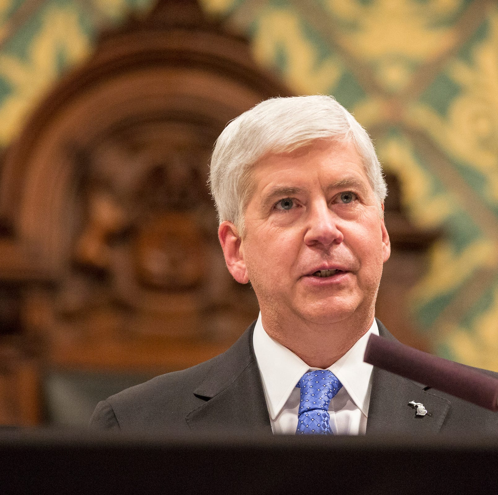 Governor Rick Snyder delivers his State of the State in House of Representatives Chamber at the State Capitol in Lansing on Tuesday, January 23, 2018.