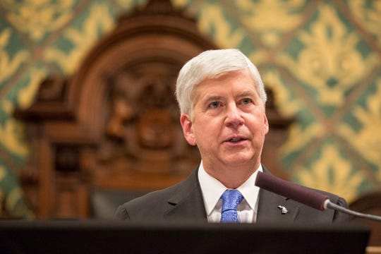 FILE -- Governor Rick Snyder delivers his State of the State address in House of Representatives Chamber at the State Capitol in Lansing on Tuesday, Jan. 23, 2018.