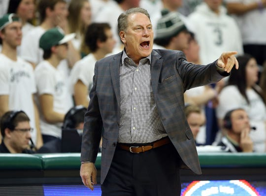 Michigan State coach Tom Izzo reacts to a play during the first half against Florida Gulf Coast at the Breslin Center, Nov. 11, 2018 in East Lansing.