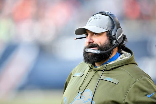 Detroit Lions coach Matt Patricia watches action against the Chicago Bears at Soldier Field on Nov. 11, 2018 in Chicago.